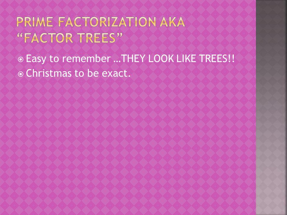 Prime Factorization aka Factor Trees