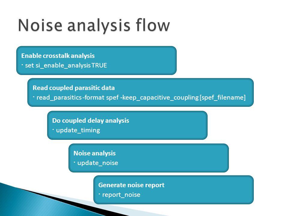 Noise analysis flow ∙ set si_enable_analysis TRUE