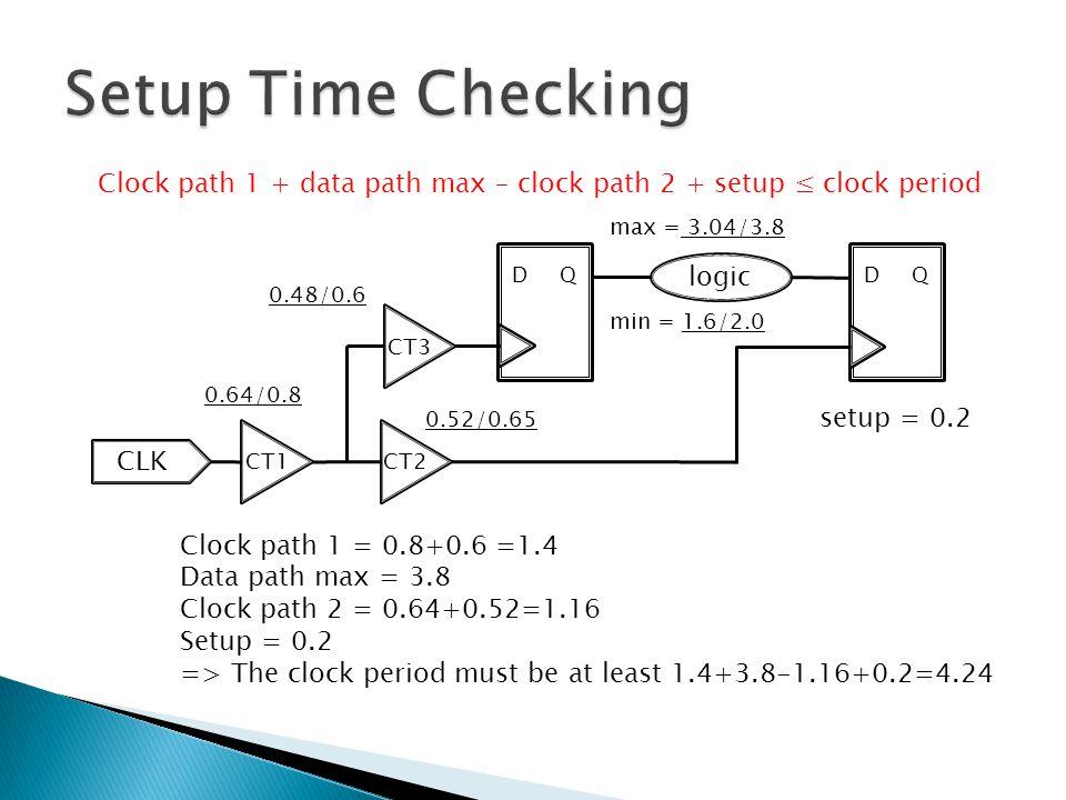 Setup Time Checking Clock path 1 + data path max – clock path 2 + setup ≤ clock period. max = 3.04/3.8.