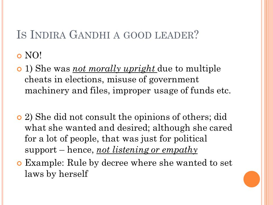 Is Indira Gandhi a good leader