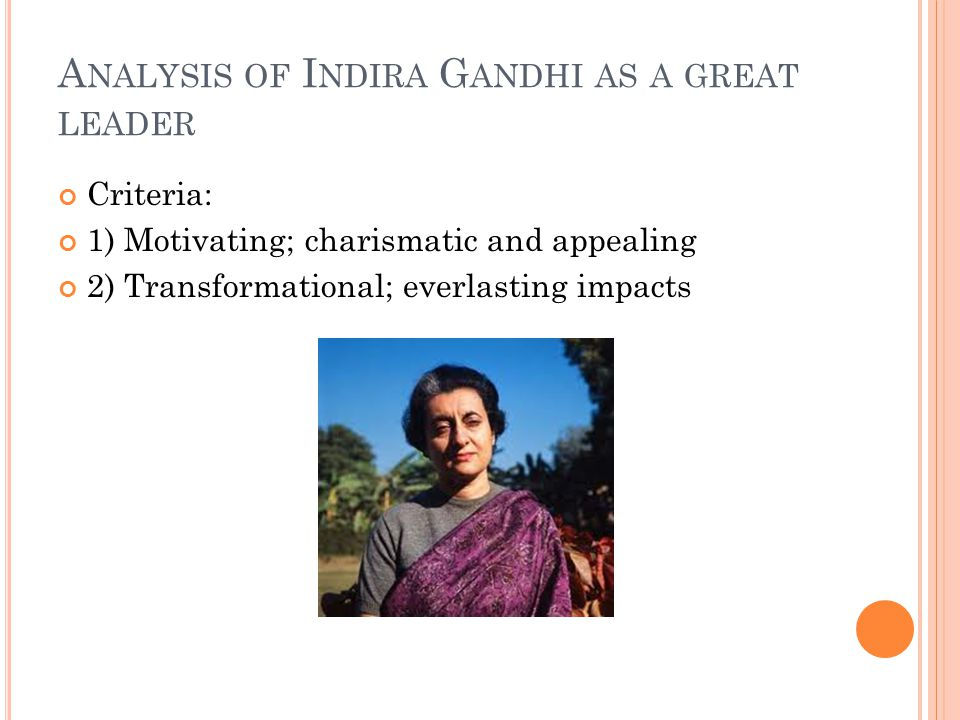 Analysis of Indira Gandhi as a great leader