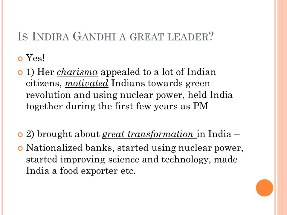 Is Indira Gandhi a great leader