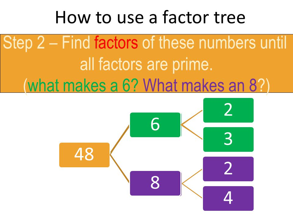 How to use a factor tree Step 2 – Find factors of these numbers until. all factors are prime. (what makes a 6 What makes an 8 )