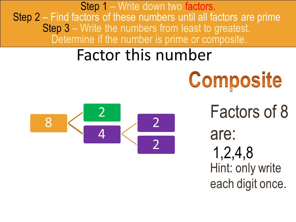 Composite Factors of 8 are: Factor this number 1,2,4,8 8
