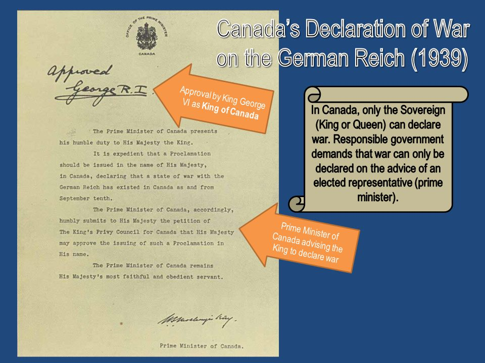 Canada's Declaration of War on the German Reich (1939)