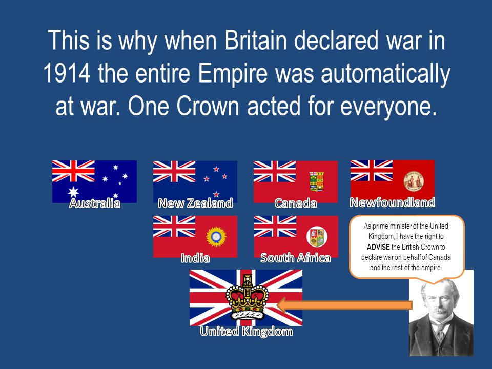 This is why when Britain declared war in 1914 the entire Empire was automatically at war. One Crown acted for everyone.