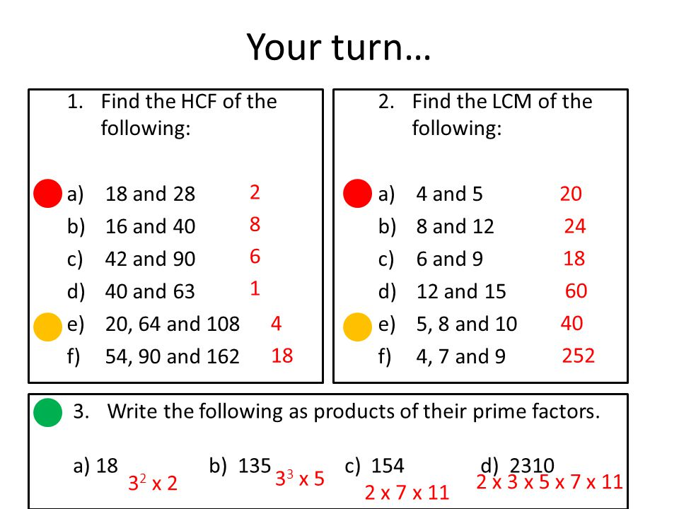 Your turn… Find the HCF of the following: 18 and 28 16 and 40
