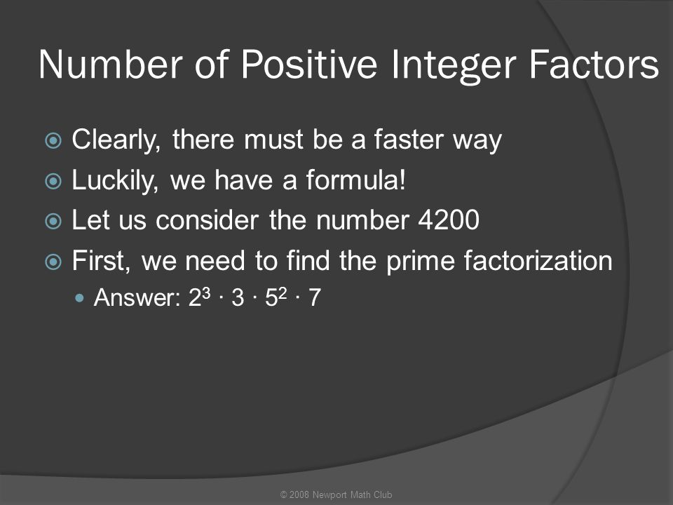 Number of Positive Integer Factors