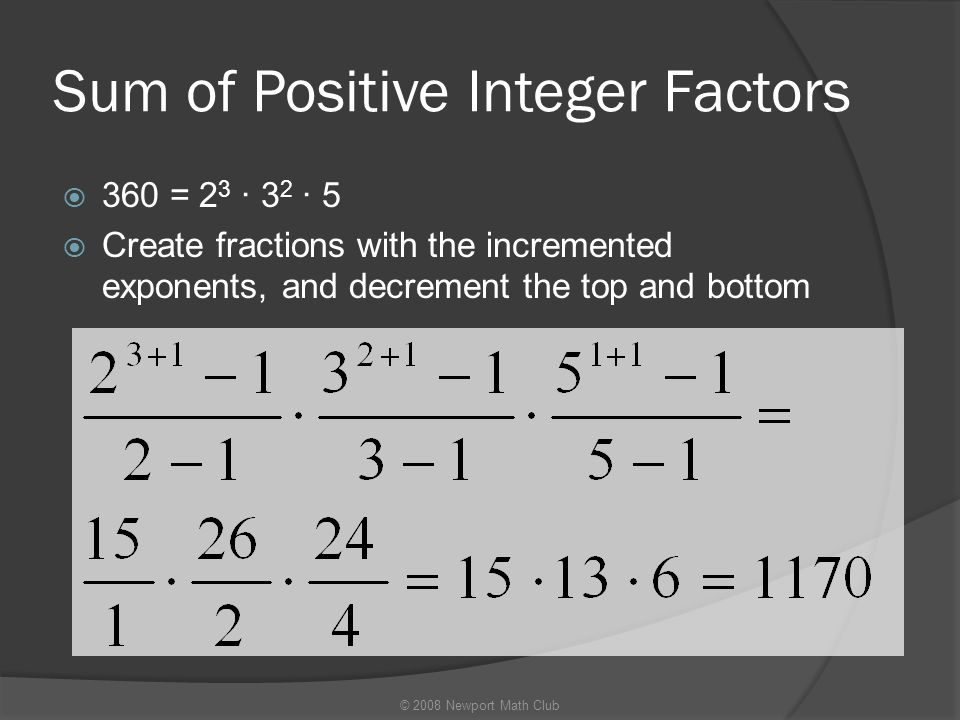 Sum of Positive Integer Factors