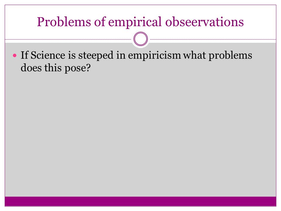 Problems of empirical obseervations
