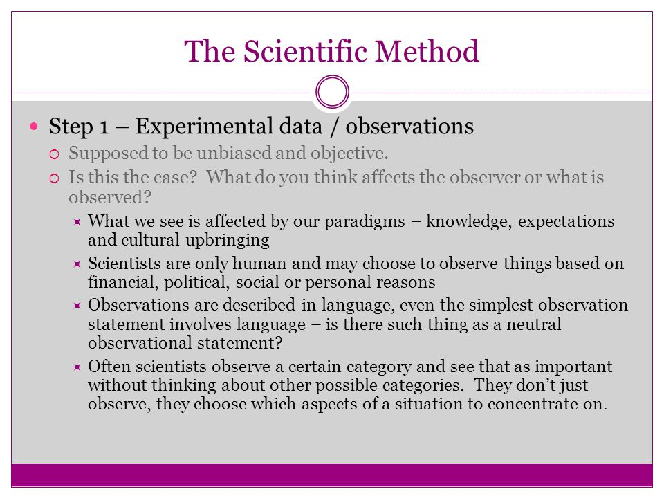 The Scientific Method Step 1 – Experimental data / observations