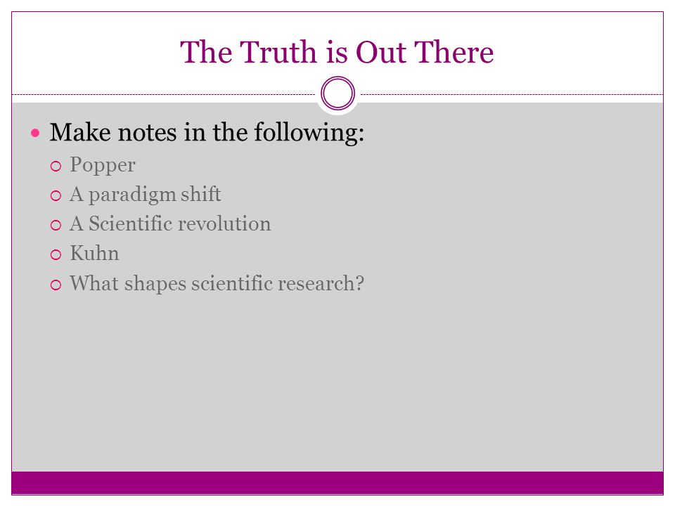 The Truth is Out There Make notes in the following: Popper