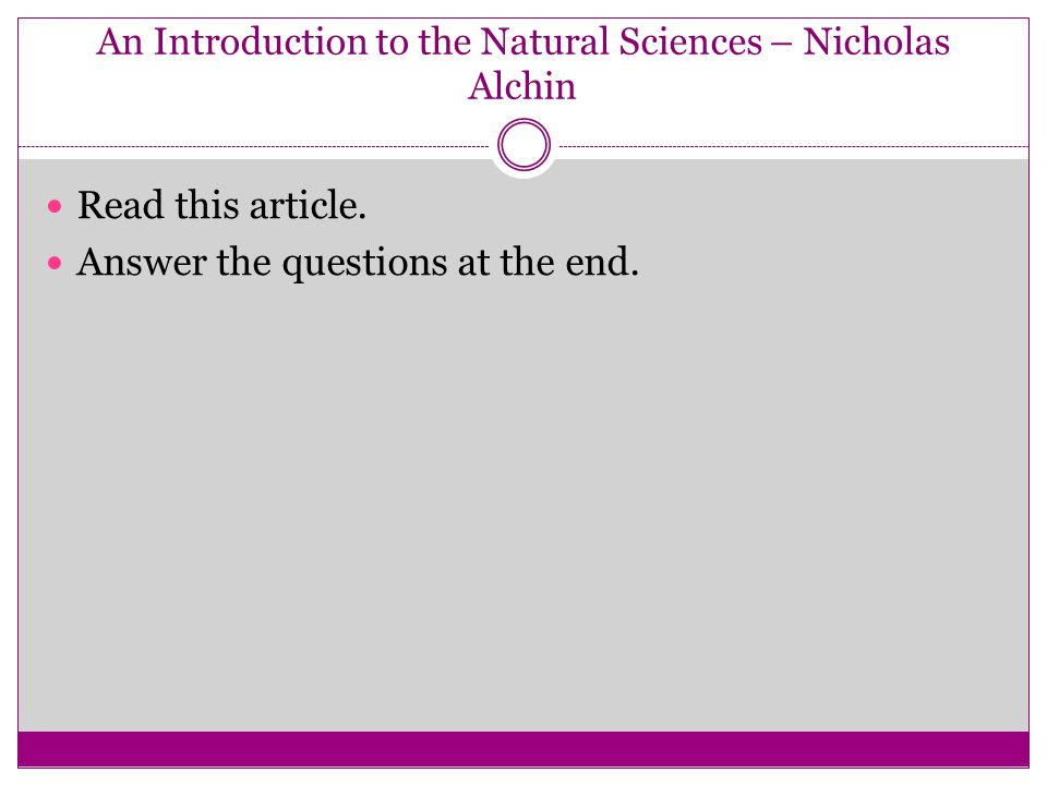 An Introduction to the Natural Sciences – Nicholas Alchin