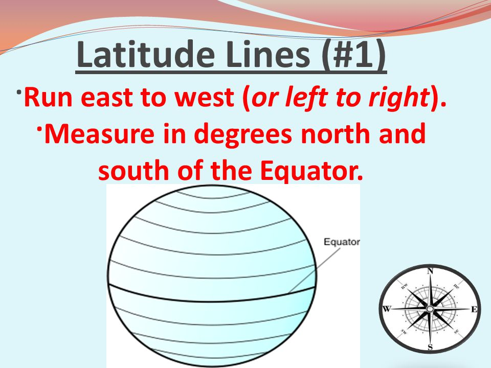 Latitude Lines (#1) ·Run east to west (or left to right)