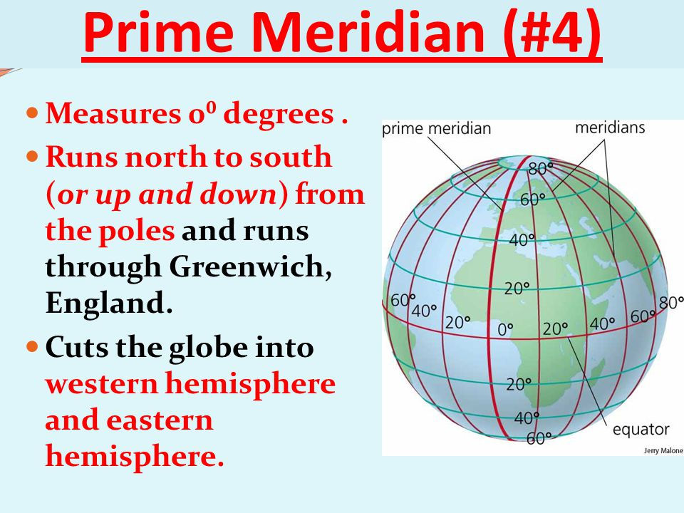 Prime Meridian (#4) Measures 0⁰ degrees .