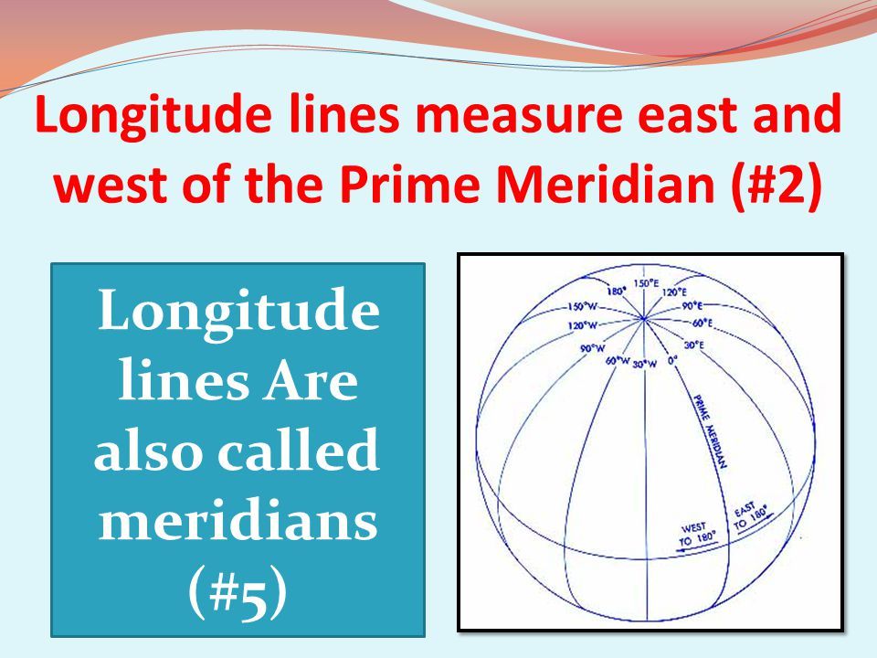 Longitude lines measure east and west of the Prime Meridian (#2)