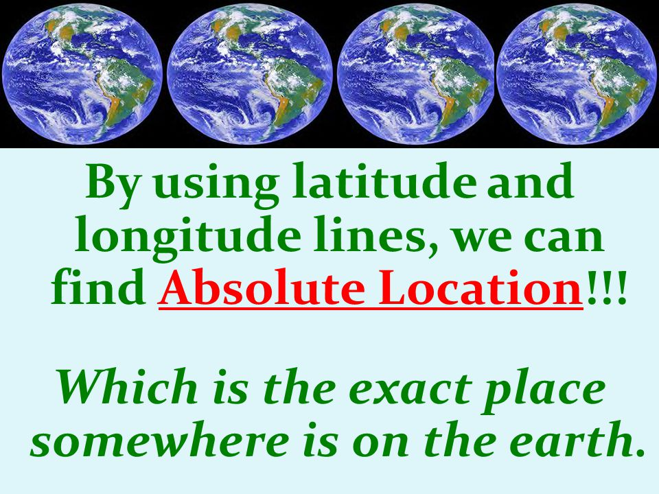 By using latitude and longitude lines, we can find Absolute Location