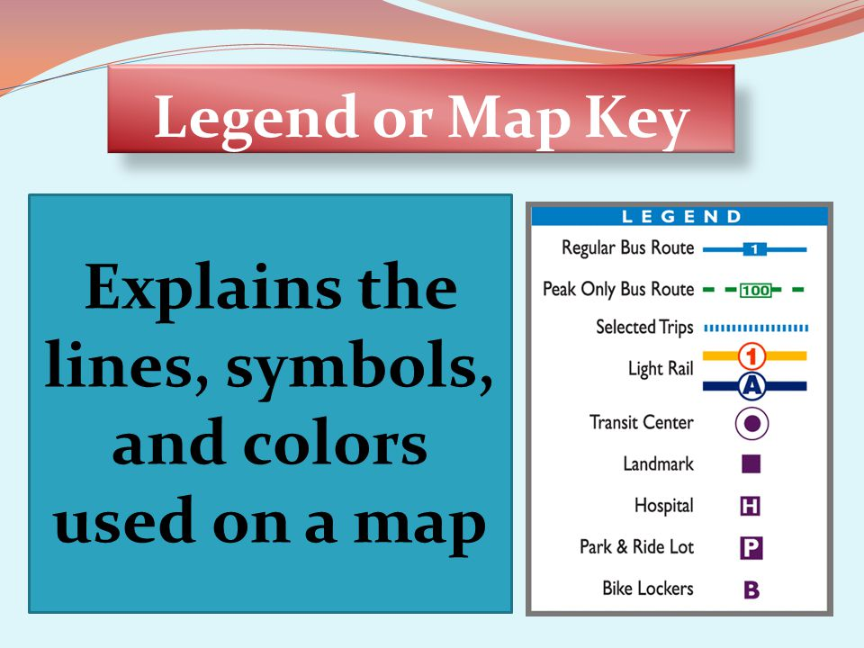 Explains the lines, symbols, and colors used on a map