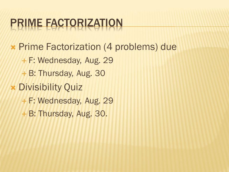 Prime factorization Prime Factorization (4 problems) due