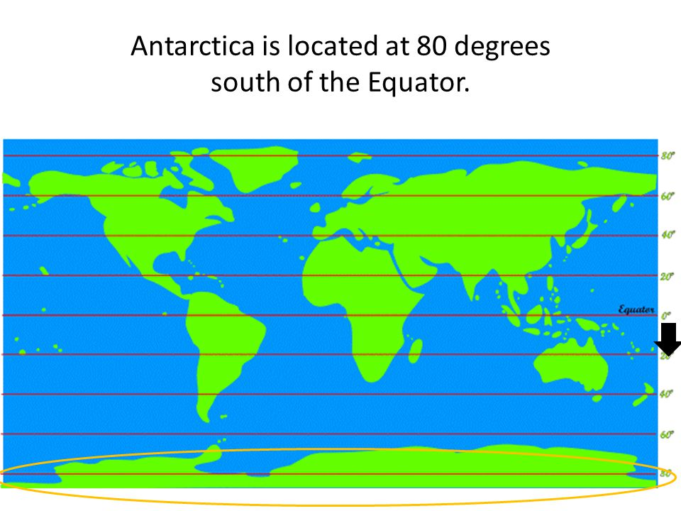 Antarctica is located at 80 degrees south of the Equator.