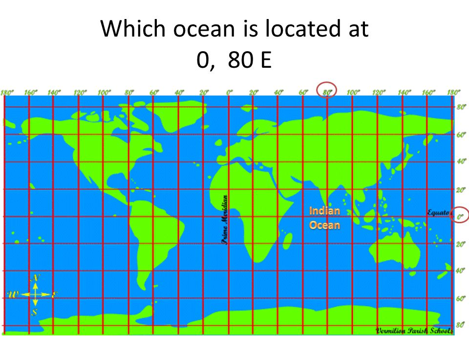 Which ocean is located at 0, 80 E