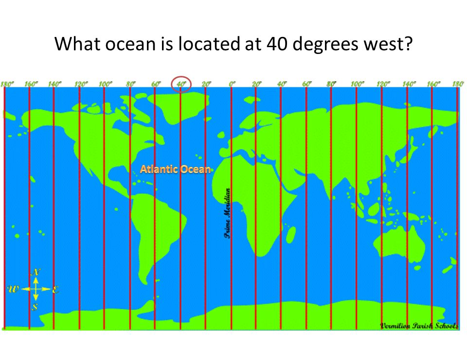 What ocean is located at 40 degrees west