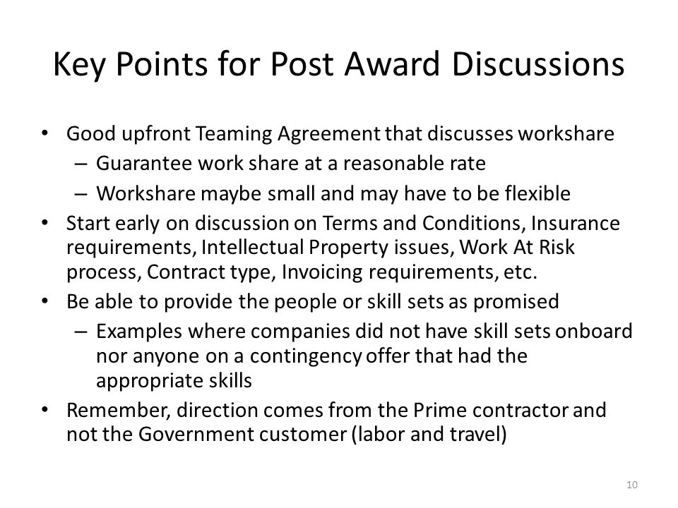 Key Points for Post Award Discussions