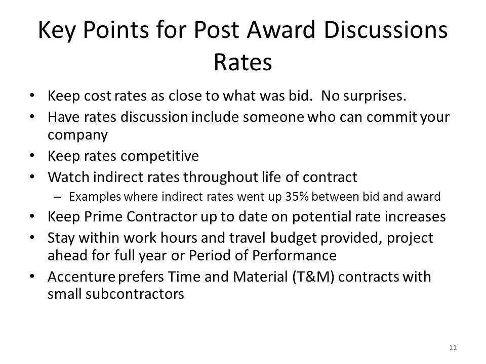 Key Points for Post Award Discussions Rates