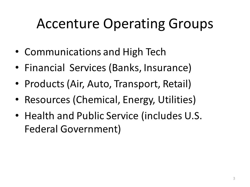 Accenture Operating Groups