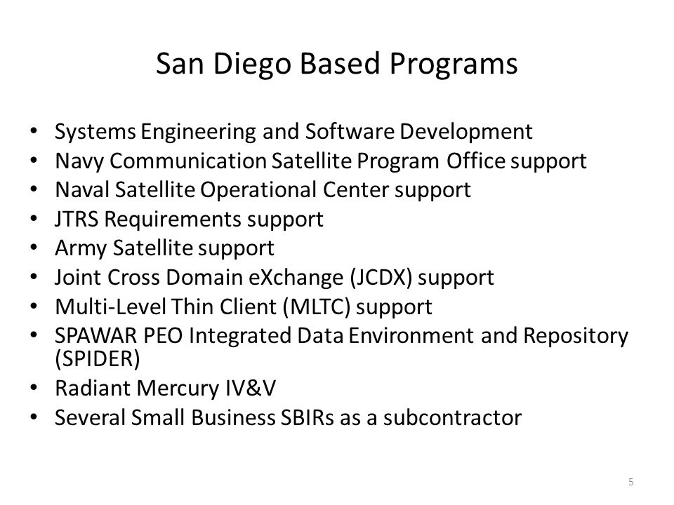 San Diego Based Programs