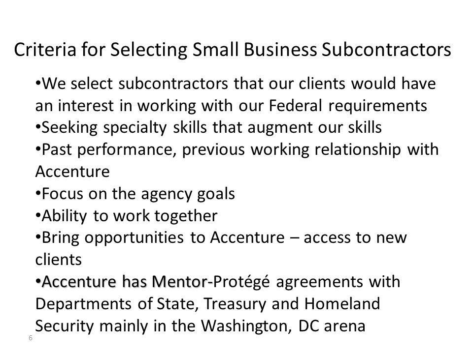 Criteria for Selecting Small Business Subcontractors