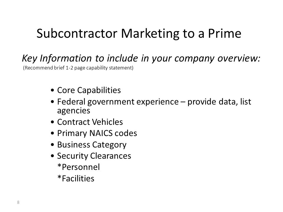 Subcontractor Marketing to a Prime