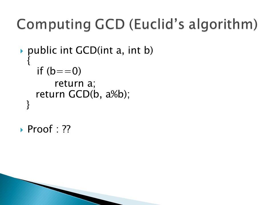 Computing GCD (Euclid's algorithm)