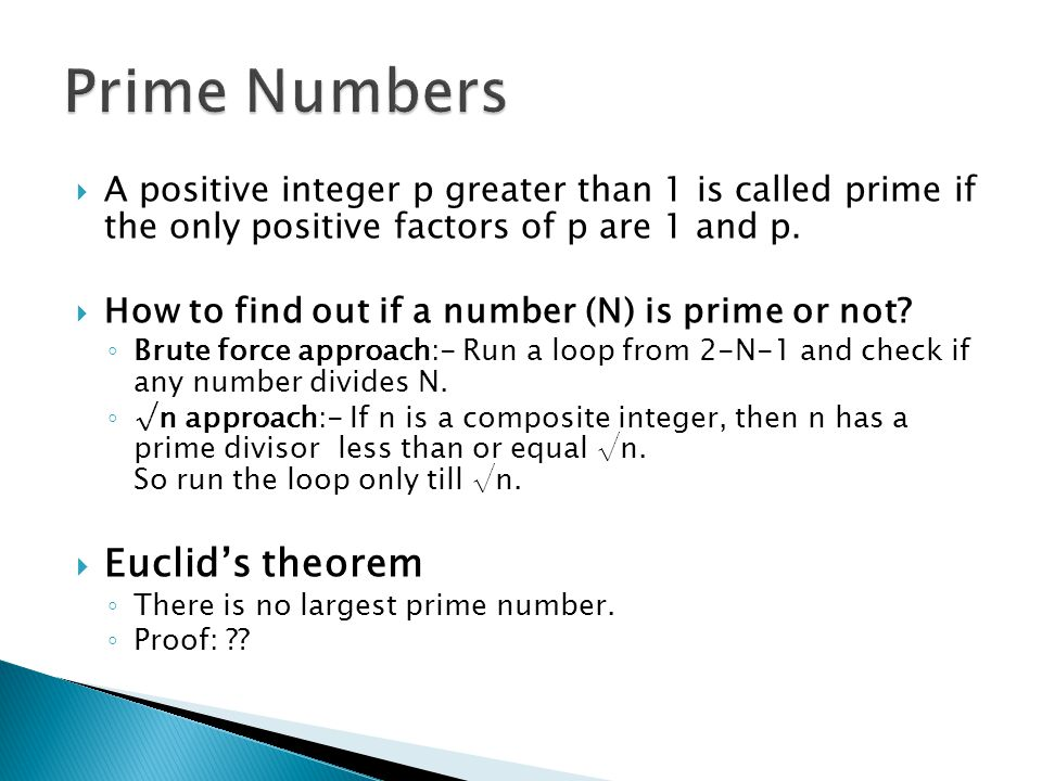 Prime Numbers Euclid's theorem