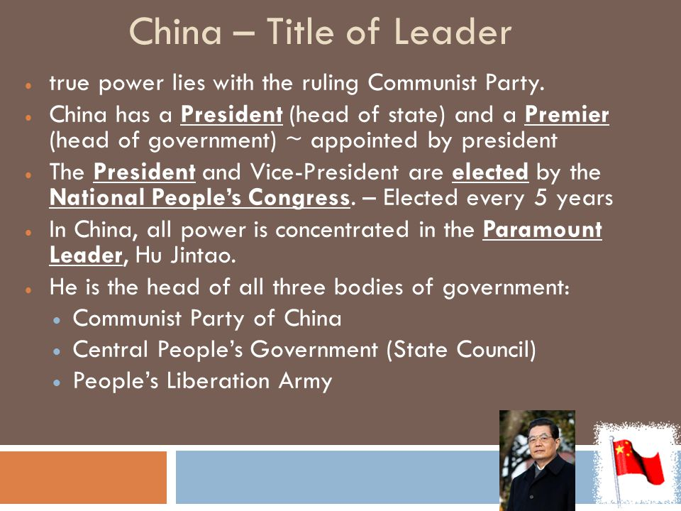 China – Title of Leader true power lies with the ruling Communist Party.