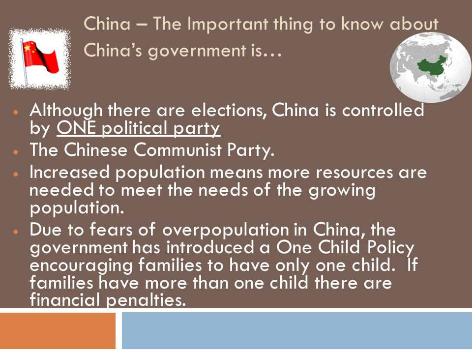 China – The Important thing to know about China's government is…