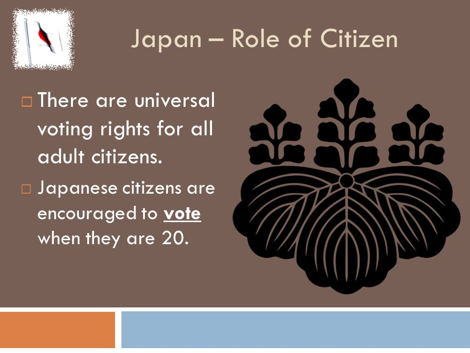 Japan – Role of Citizen There are universal voting rights for all adult citizens.