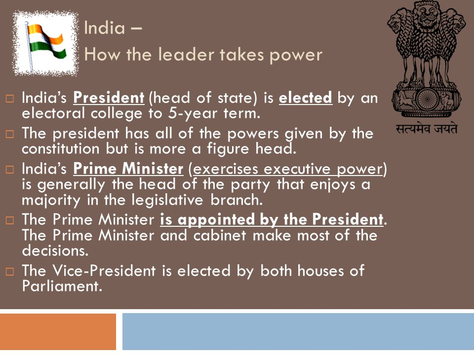 India – How the leader takes power