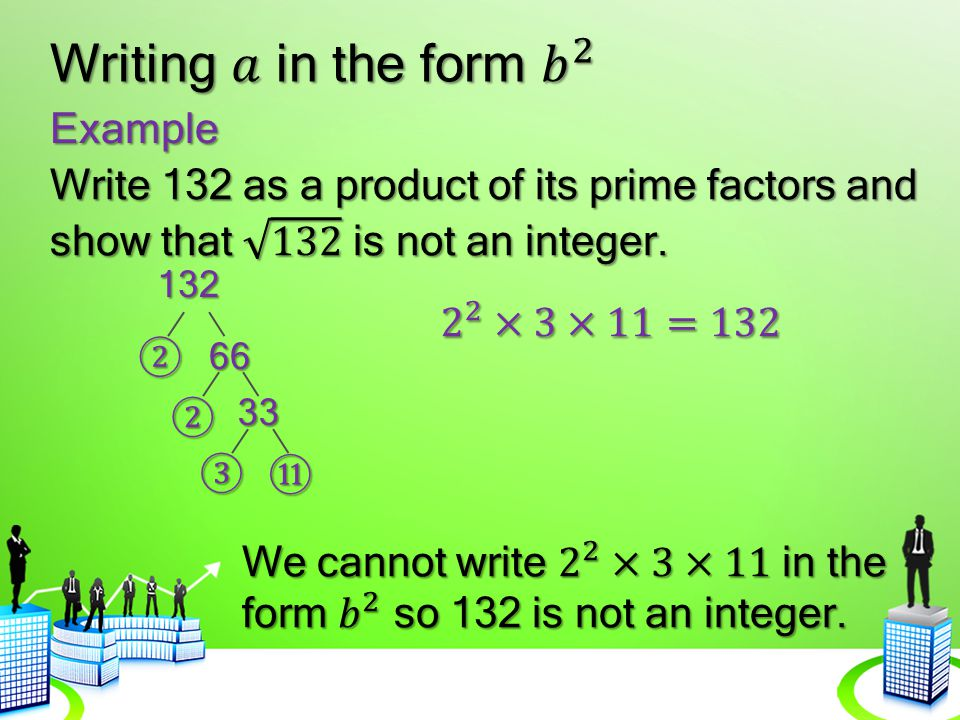 Writing 𝑎 in the form 𝑏 2 Example