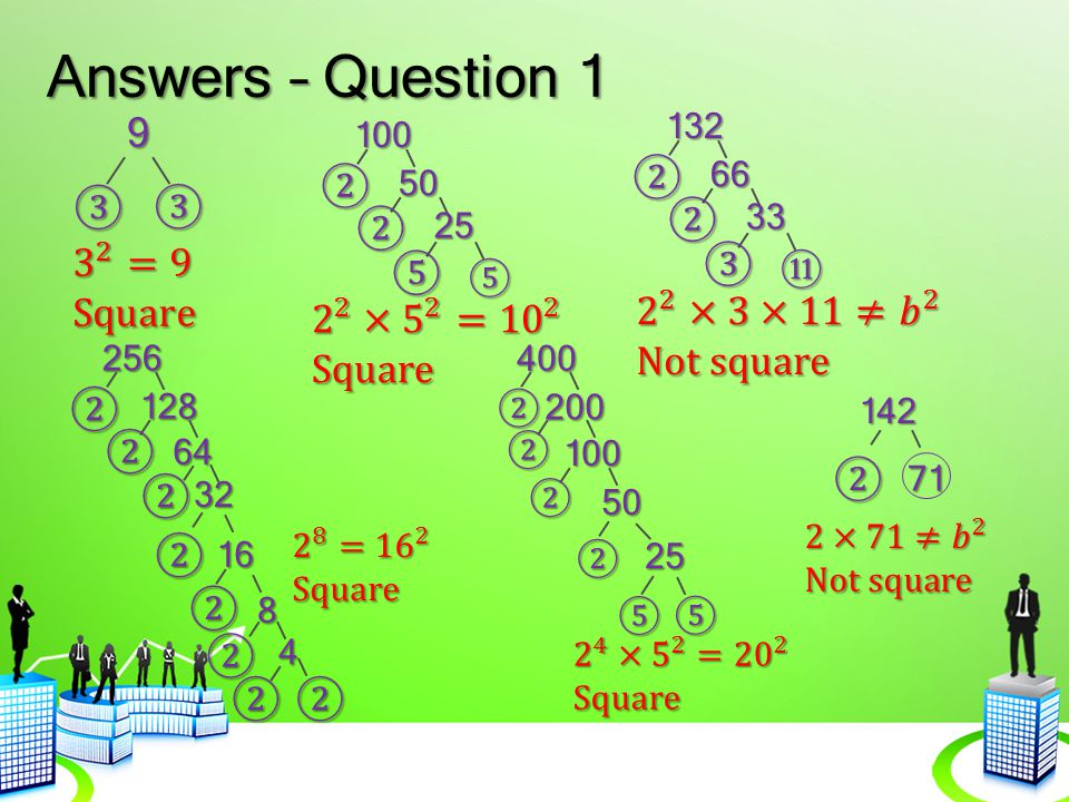 Answers – Question 1 9 ② ② ③ ③ ② ② 3 2 =9 Square ③ ⑤