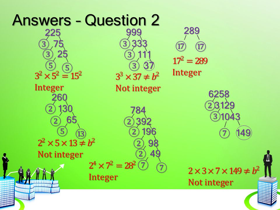 Answers – Question 2 999 289 225 ③ 75 ③ 333 ⑰ ⑰ ③ 25 ③ 111