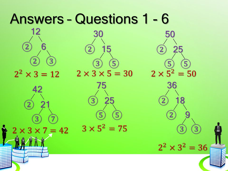 Answers – Questions 1 - 6 12 30 50 ② 6 ② 15 ② 25 ② ③ ③ ⑤ ⑤ ⑤ 2 2 ×3=12