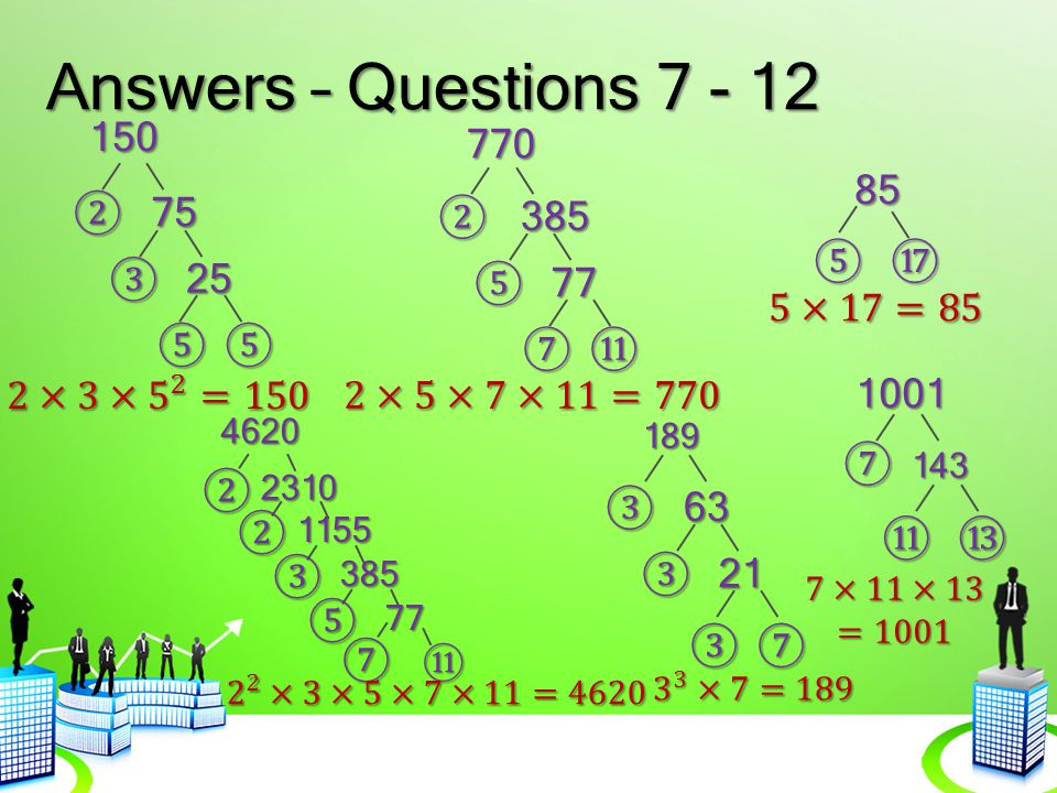 Answers – Questions 7 - 12 150 770 85 ② 75 ② 385 ⑤ ⑰ ③ 25 ⑤ 77 5×17=85
