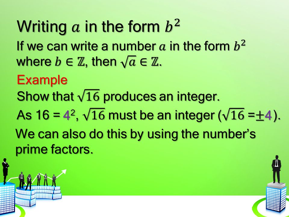 Writing 𝑎 in the form 𝑏 2 If we can write a number 𝑎 in the form 𝑏 2 where 𝑏∈ℤ, then 𝑎 ∈ℤ. Example.