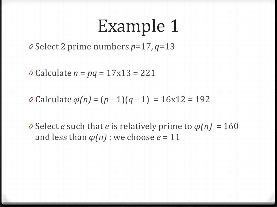 Example 1 Select 2 prime numbers p=17, q=13