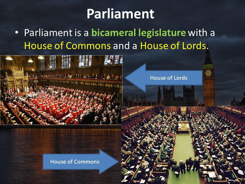 Parliament Parliament is a bicameral legislature with a House of Commons and a House of Lords. House of Lords.