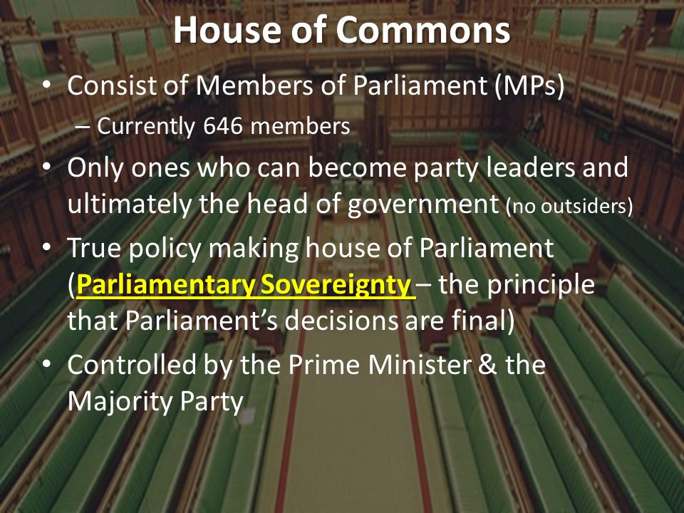 House of Commons Consist of Members of Parliament (MPs)