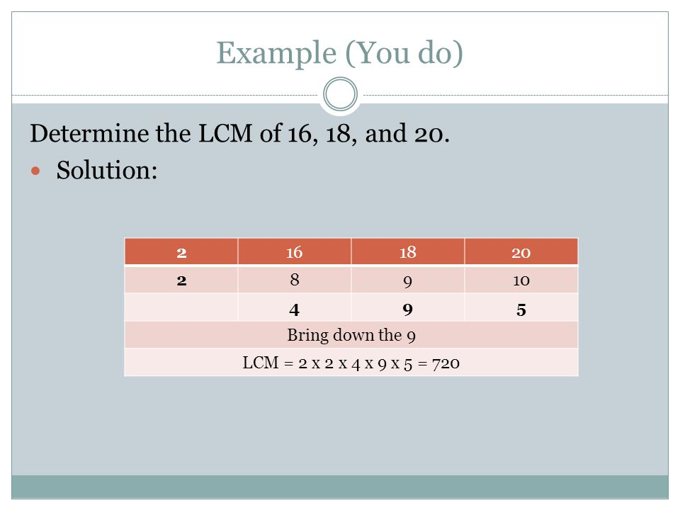 Example (You do) Determine the LCM of 16, 18, and 20. Solution: 2 16