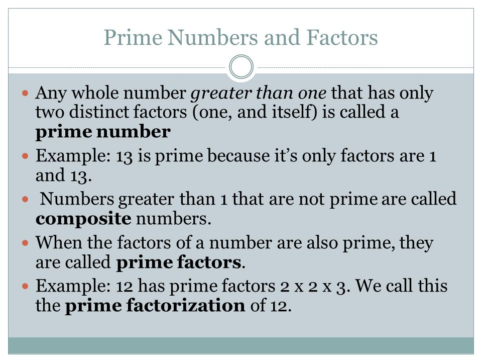 Prime Numbers and Factors