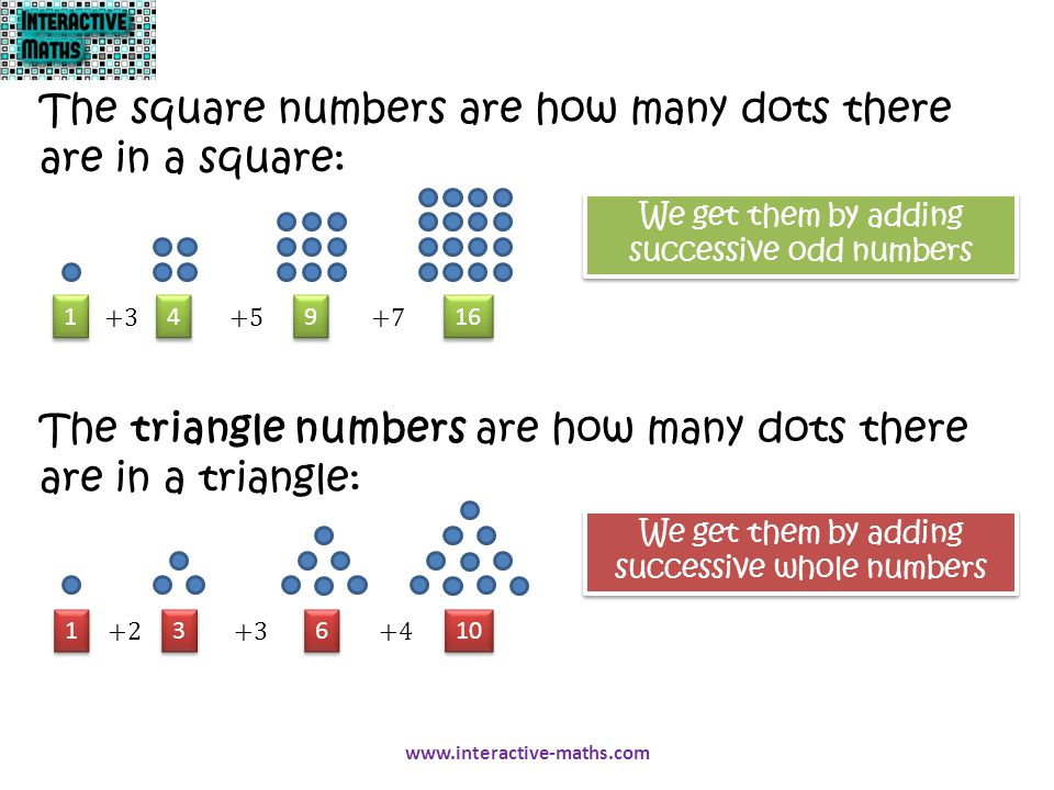The square numbers are how many dots there are in a square: